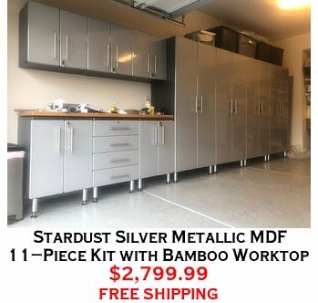 Stardust Silver Metallic MDF 11-Piece Kit with Bamboo Worktop