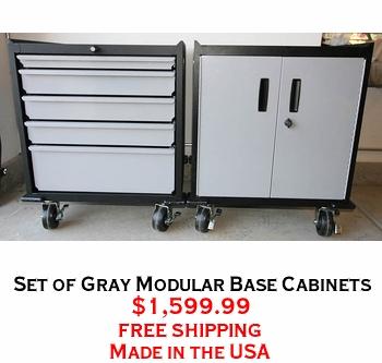 Set of Gray Modular Base Cabinets