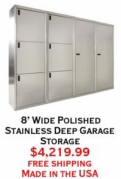 8' Wide Polished Stainless Deep Garage Storage