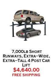 7,000lb Short Runways, Extra-Wide, Extra-Tall 4 Post Car Lift