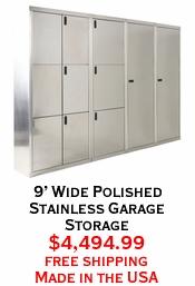 9' Wide Polished Stainless Garage Storage