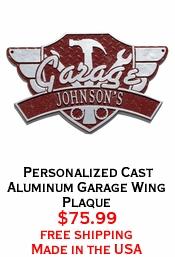 Personalized Cast Aluminum Garage Wing Plaque