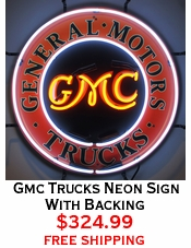 Gmc Trucks Neon Sign With Backing