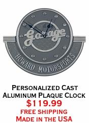 Personalized Cast Aluminum Plaque Clock