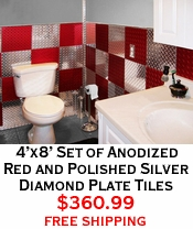 4'x8' Set of Anodized Red and Polished Silver Diamond Plate Tiles