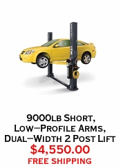 9000lb Short, Low-Profile Arms, Dual-Width 2 Post Lift