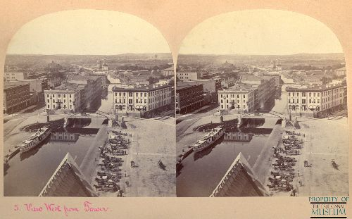 Stereoscope image of Erie Canal in Syracuse