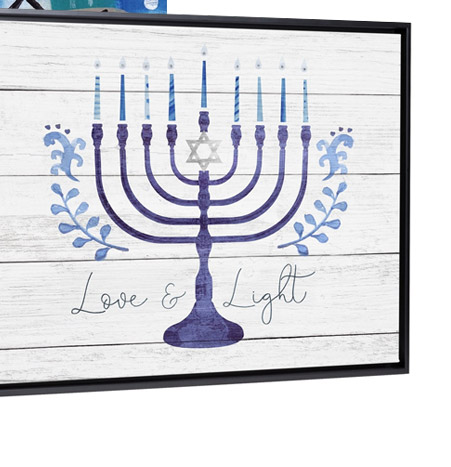 Love and Light Menorah on barnwood by Victoria Borges