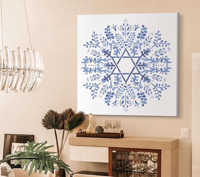 Indigo Hanukkah I by Victoria Borges