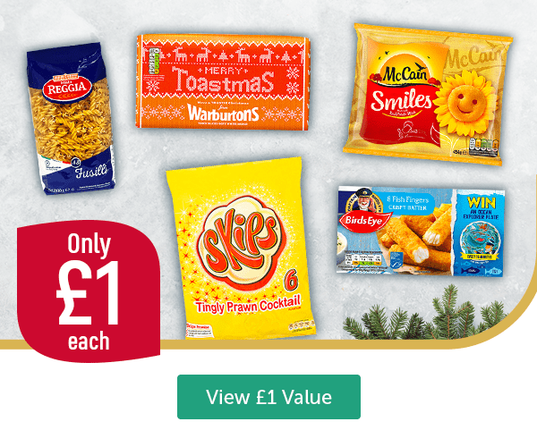 Only �each Reggia Fusilli Warburtons Merry Toastmas Skips Tingly Prawn Cocktail 6 Pack McCain Smiles Birds Eye Crispy Batter Fish Fingers 8 Pack View �Value
