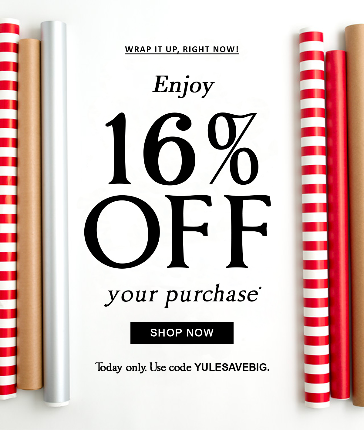 Wrap it up, right now! Enjoy 16% off your purchase* Shop Now Today only. Use code YULESAVEBIG.