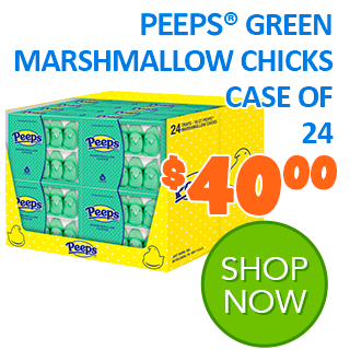 PEEPS GREEN MARSHMALLOW CHICKS CASE OF 24