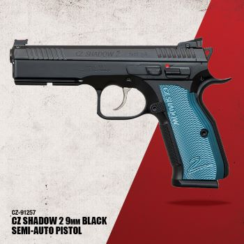 CZ SHADOW 2,  9mm, black polycoat, blue grips, 3x 17rd mags