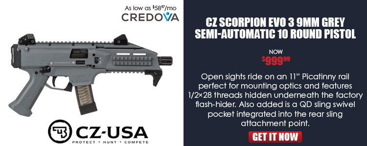 CZ SCORPION EVO 3 S1 pistol, BATTLESHIP GREY, 9mm, 1/2x28 threads - 10rd mags