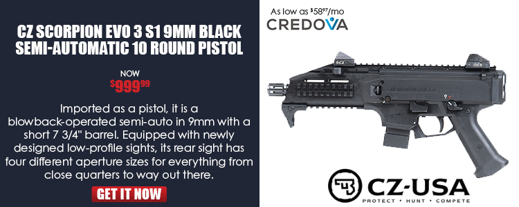 CZ SCORPION EVO 3 S1 pistol, 9mm, 1/2x28 threads - 10rd mags