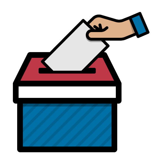a hand of a person putting a ballot in a ballot box