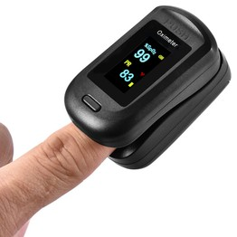 Portable Fingertip Oximeter Blood Oxygen Heart Rate Monitor Black