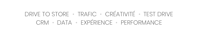 drive to store, trafic, creativite, test drive, crm, data, experience, performance
