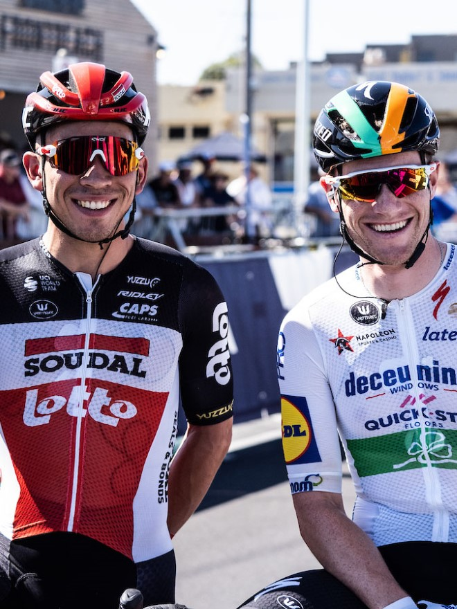 Caleb Ewan and Sam Bennett at the Cadel Evans Great Ocean Road Race 2020