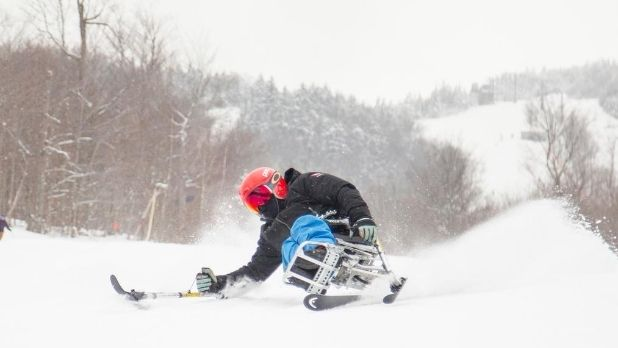 An adaptive skier on Whiteface Mountain.