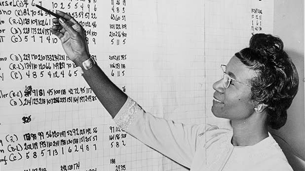 New York civil rights leader Shirley Chisholm points to a chart.