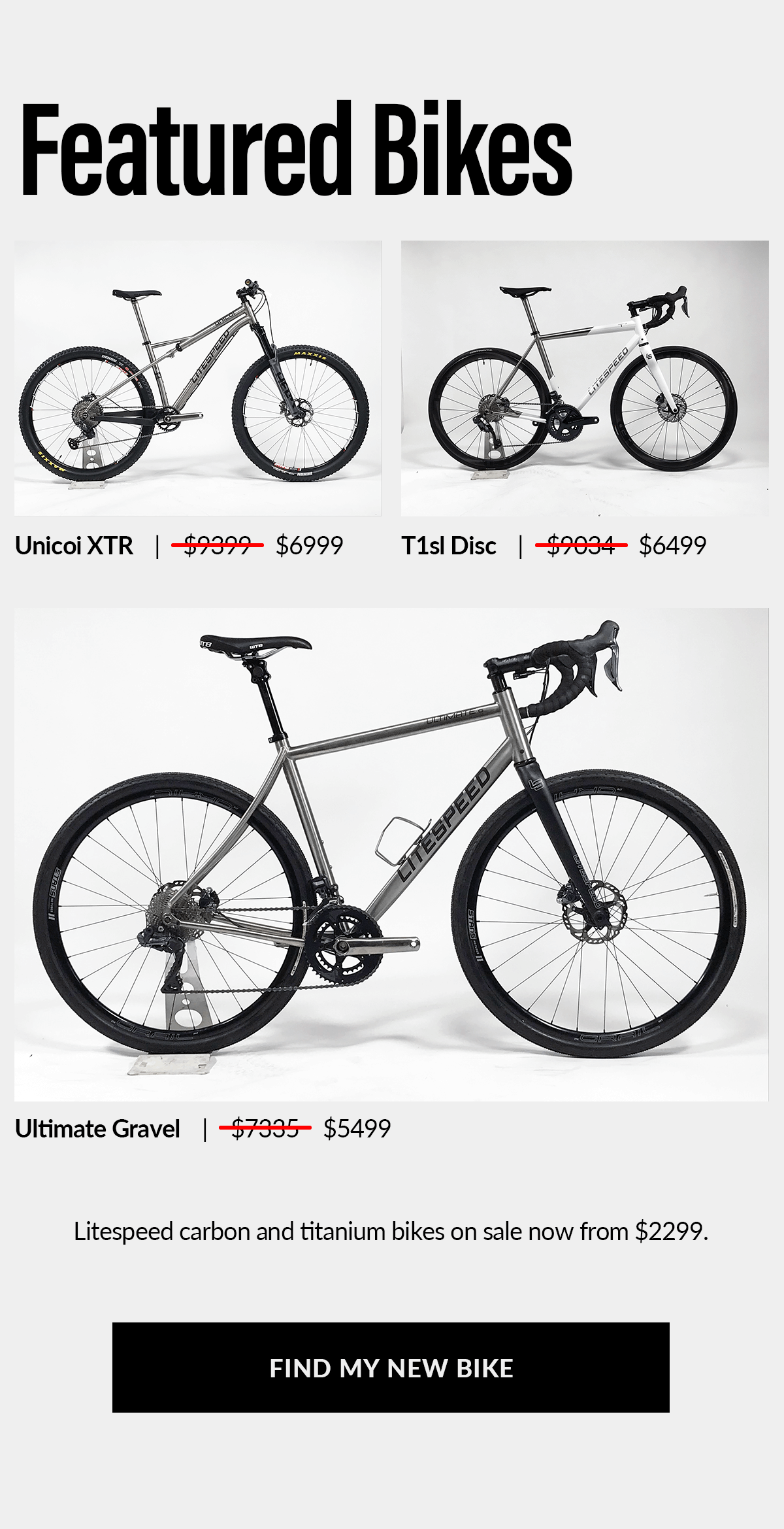Featured sale bikes: shop for your new titanium or carbon bike now.