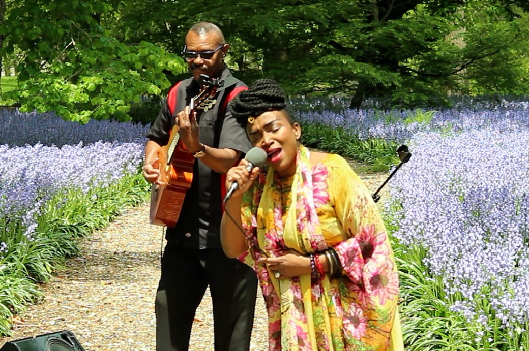 Woman singing and man playing guitar in a garden of bluebells