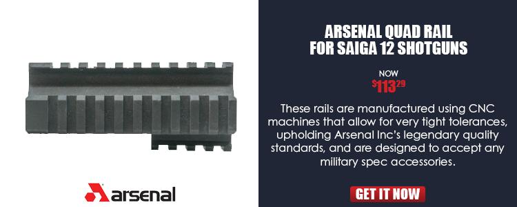 Rail system, quad rail, for Saiga 12 shotgun, Arsenal, Inc.
