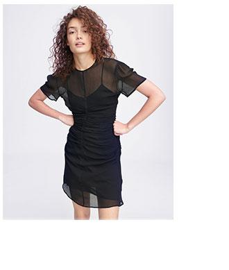 The Maris Short Sleeve Mini Dress in Black.