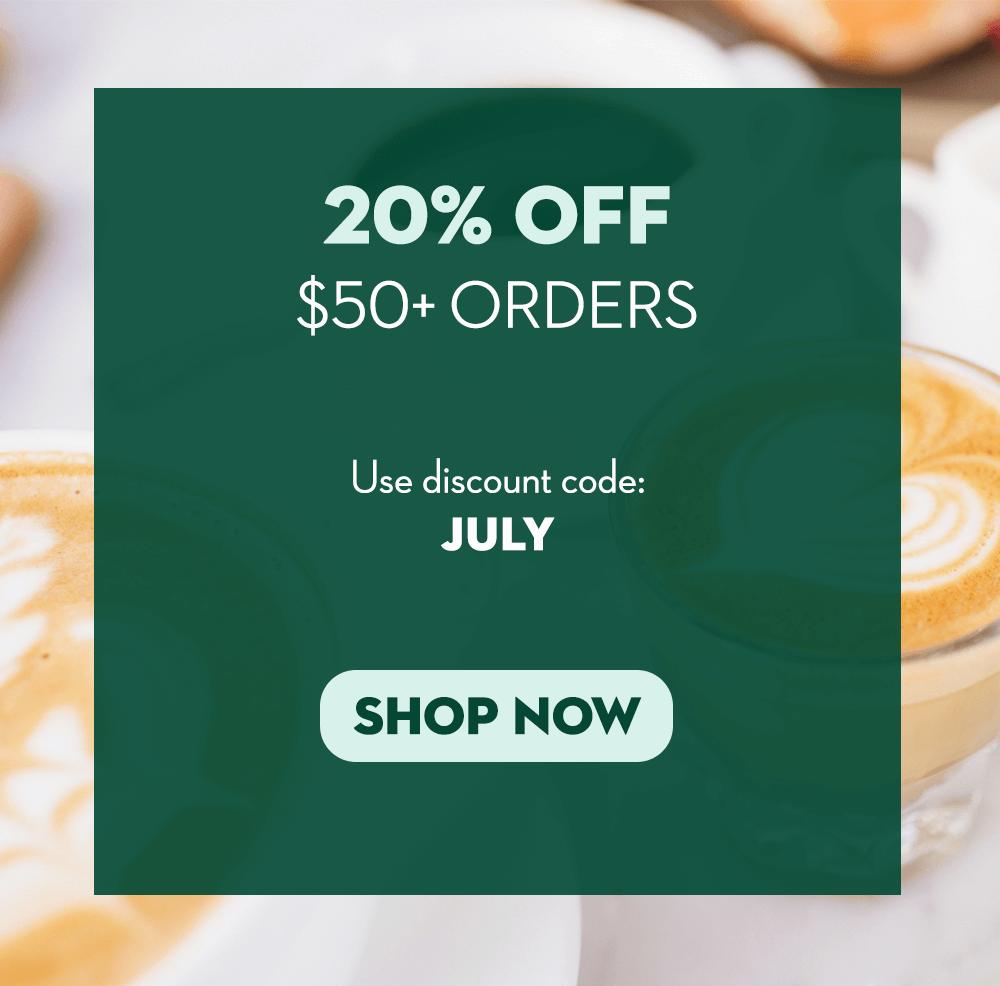 20% off $50+ orders