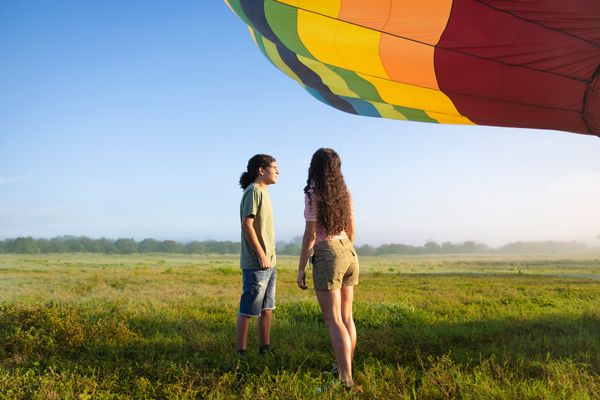 guy and girl with hot air balloon