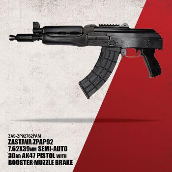 ZPAP92 AK pistol 7.62 x 39 mm with booster , dark wood ,top rail, rear rail, bulged trunnion, 1.5mm