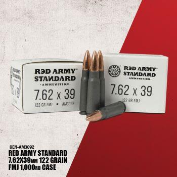 Ammo, Red Army, AM3092 , 7.62x39, 122 gr., FMJ, 20rd per box, 1,000rd per case