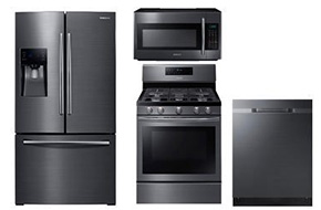 Shop Samsung Fingerprint Resistant Black Stainless Steel Refrigerator and Convection Gas Range Package