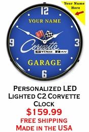 Personalized LED Lighted C2 Corvette Clock