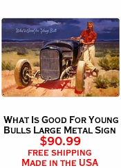 What Is Good For Young Bulls  Large Metal Sign