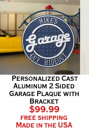 Personalized  Cast Aluminum 2 Sided Garage Plaque with Bracket