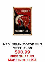 Red Indian Motor Oils Metal Sign