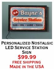 Personalized Nostalgic LED Service Station Sign