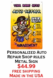 Personalized Auto Repair Shop rules Metal Sign