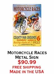 Motorcycle Races Metal Sign
