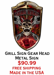 Grill Sign Gear Head Metal Sign