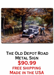 The Old Depot Road Metal Sign