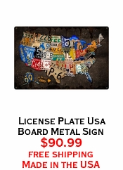 License Plate Usa Board Metal Sign