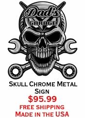 Skull Chrome Metal Sign