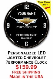 Personalized LED Lighted Chevrolet Performance Clock