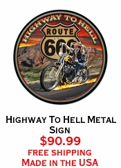 Highway To Hell Metal Sign