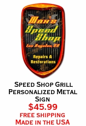 Speed Shop Grill Personalized Metal Sign