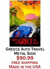 Greece Auto Travel Metal Sign
