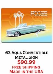 63 Aqua Convertible Metal Sign